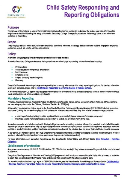 Child Safety Responding and Reporting Obligations